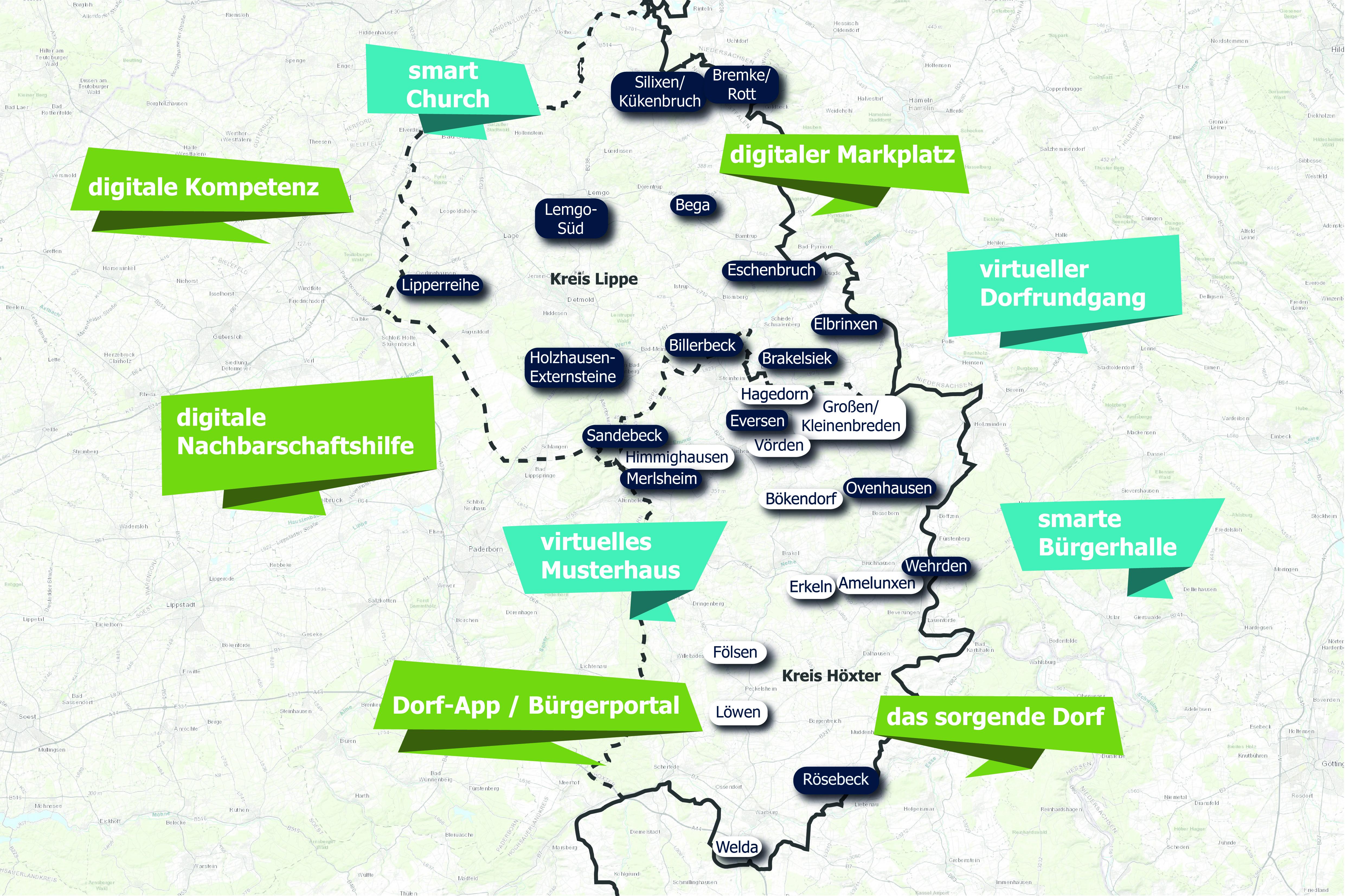 Eine Karte, die die 16 Modelldörfer der Kreise Lippe und Höxter anzeigt. Sie sind versehen mit bunten Kästchen, aus denen hervorgeht, was die Dörfer planen, z.B. Kirchen-App oder Dorf-App.