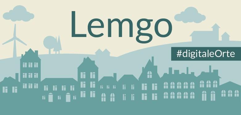 Grafik: in der unteren Hälfte Häuserfassaden, in dunklem Grün. Oben eine hügelige Silhouette. Ganz oben der Schriftzug Lemgo. Rechts an der Seite der Grafik steht der Hashtag Digitale Orte.