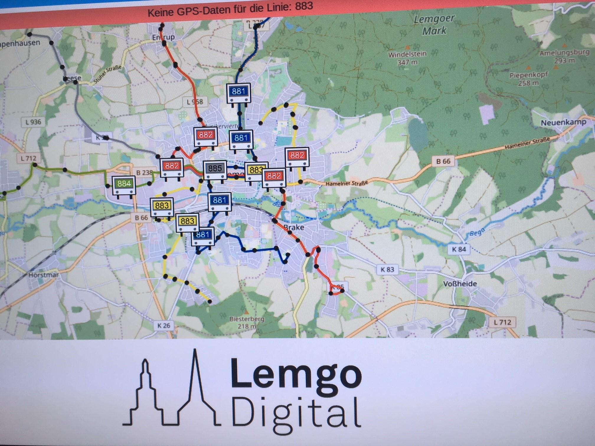 Übersichtskarte über die Buslinien in Lemgo und ihren aktuellen Standort